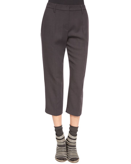 Brunello Cucinelli Pleated-Front Ankle Pants, Volcano