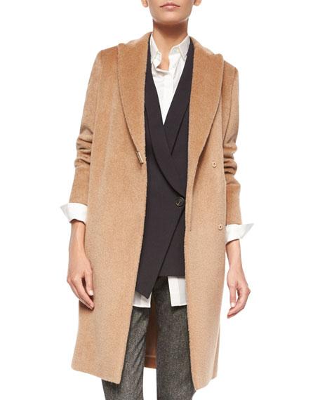 Brunello Cucinelli Alpaca/Wool Monili-Snap Long Coat