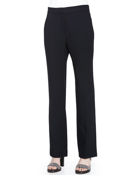 Brunello Cucinelli Flare-Leg Pants w/Ankle Slit, Black