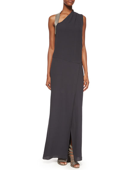 Brunello Cucinelli Sleeveless Monili-Shoulder Gown, Volcano