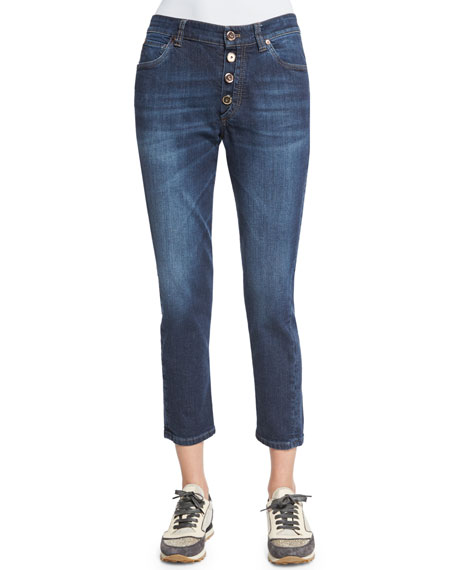 Brunello Cucinelli Mid-Rise Exposed-Fly Cropped Jeans, Medium