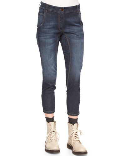 High-Waist Seamed Denim Jeans, Medium Wash