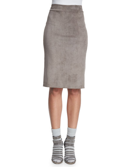 Brunello Cucinelli Lamb Suede Pencil Skirt