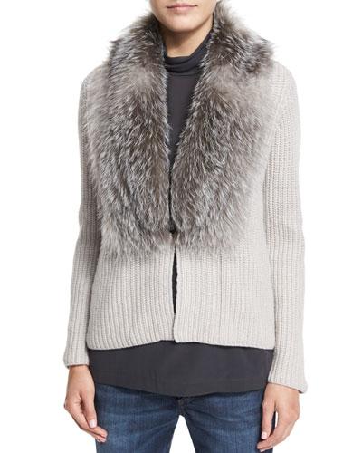 Cashmere Cardigan W/Fox-Fur Collar, Dove