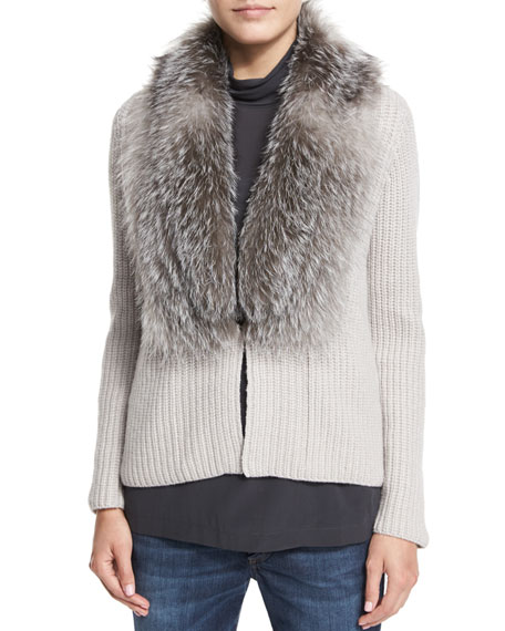 Brunello Cucinelli Cashmere Cardigan W/Fox-Fur Collar, Dove