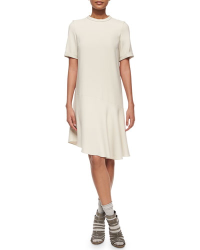 Short-Sleeve Asymmetric Shift Dress, Vanilla