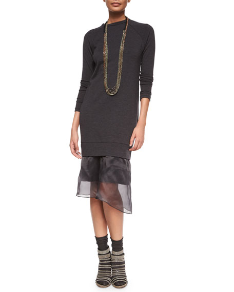 Brunello Cucinelli Long-Sleeve Duchess Sheer-Hem Dress, Anthracite