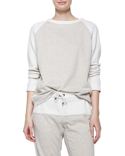 Long-Sleeve Colorblock Spa Sweatshirt, Macadamia
