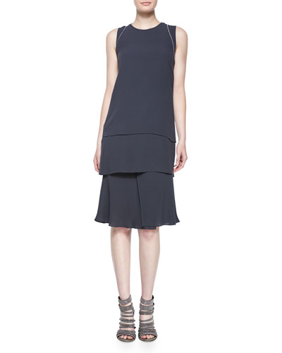 Sleeveless Layered Dress W/ Monili Trim, Volcano