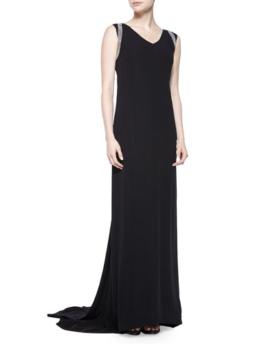 V-Neck Monili-Shoulder Gown, Black