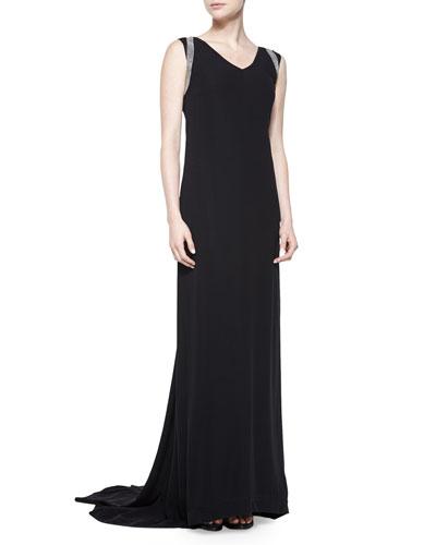 V-Neck Monili-Shoulder Gown, Black