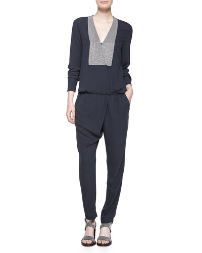 Long-Sleeve Jumpsuit W/Monili-Chain Bib, Volcano
