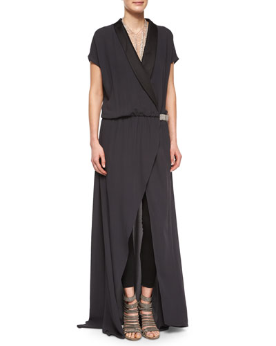 Silk Tuxedo Jumpsuit with Monili Tab