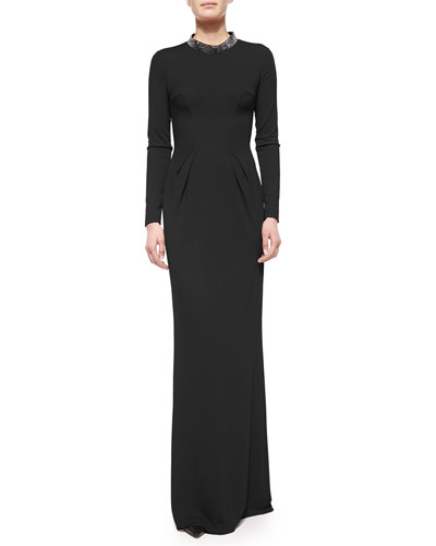Swarovski® Mock Collar Cutout Gown