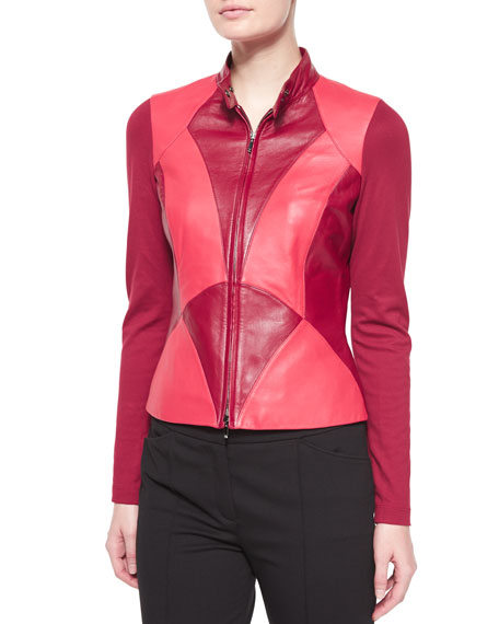 Escada Art Nouveau Leather Combo Jacket, Dark Tivoli