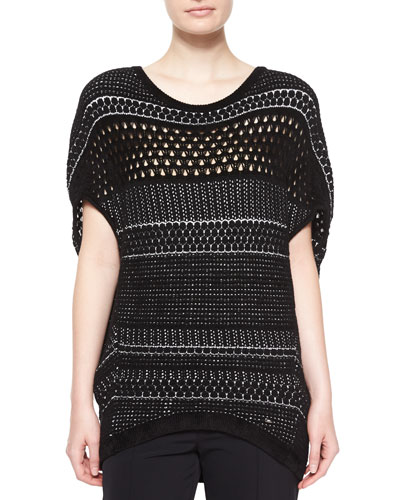 Novelty Round-Neck Cocoon Pullover, Black