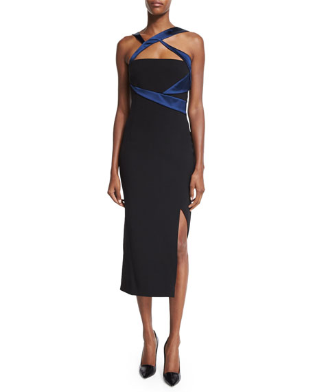 Versace Sleeveless Two-Tone Sheath Dress, Nero/Blu