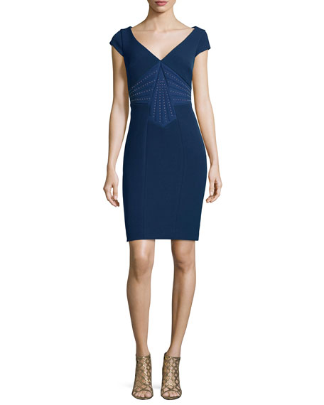 Versace Cap-Sleeve Embellished Sheath Dress, Blue Avio