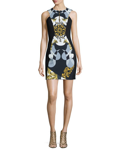 Abstract & Scroll-Print Sheath Dress, Nero/Oro