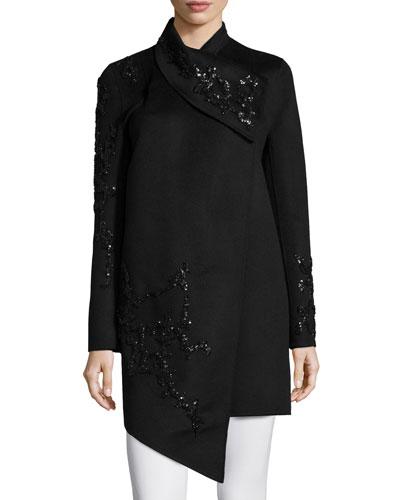 Long-Sleeve Embellished Cashmere Coat, Black