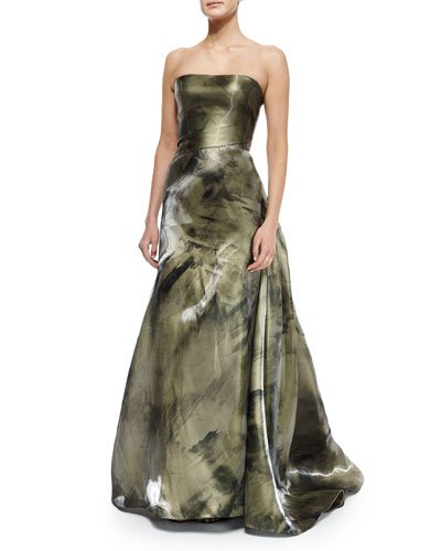 Strapless Liquid-Printed Gown, Green