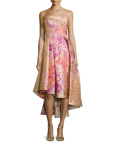 Strapless High-Low Embossed Gown, Floral