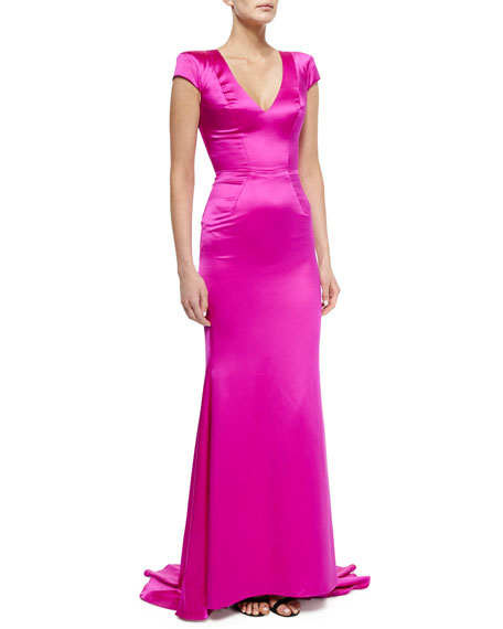 V-Neck Square-Shoulder Gown, Pink