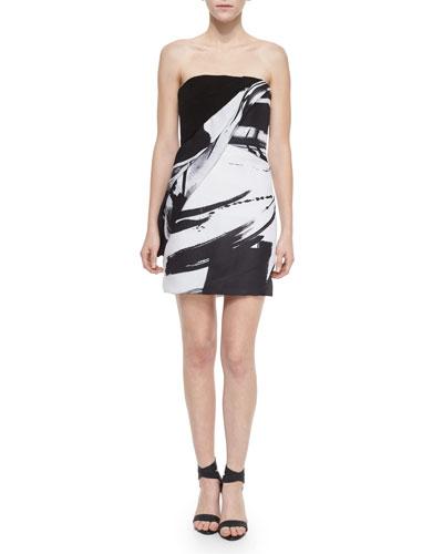 Strapless Brushstroke-Print Cocktail Dress, Black/White