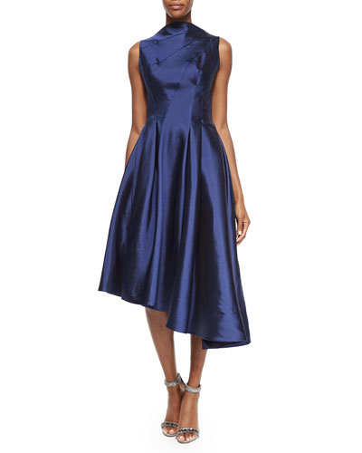 Asymmetric Fit-&-Flare Cocktail Dress, Navy