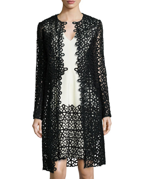 Lela Rose Long-Sleeve Scroll Guipure Lace Jacket, Black