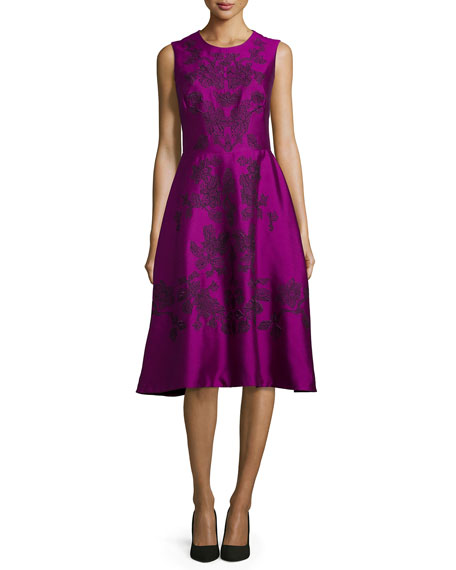Lela Rose Lace Embroidered Sleeveless Dress, Magenta