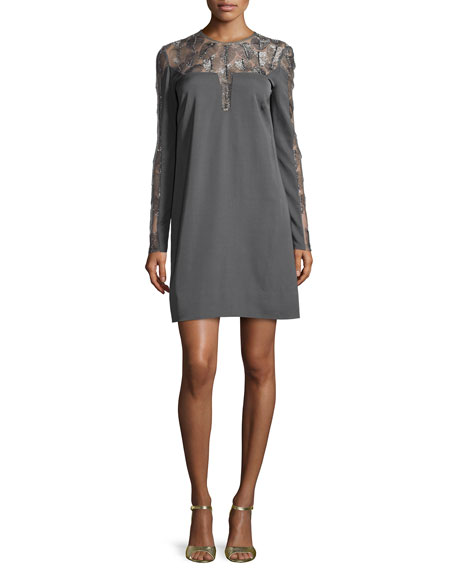Lela Rose Long-Sleeve Feather Medallion Shift Dress, Charcoal