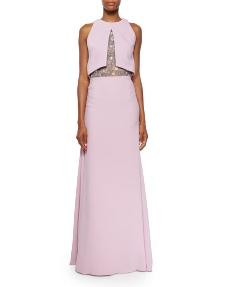 Lela Rose Sleeveless Embroidered-Bodice Gown, Lilac