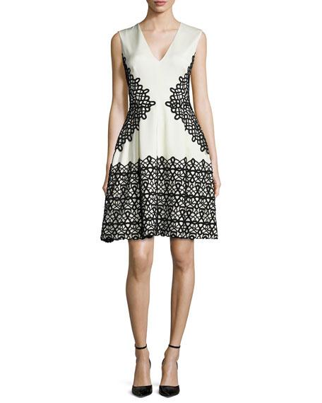 Lela Rose V-Neck Scroll Guipure Lace Dress, Ivory/Black