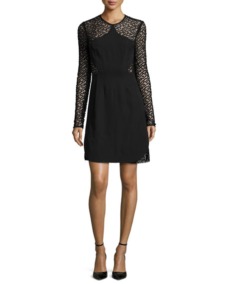 Lela Rose Long-Sleeve Embroidered-Dot Dress, Black