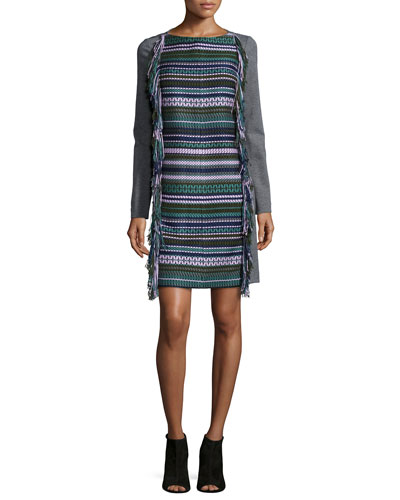 Long-Sleeve Fringe Shift Dress, Multi Colors
