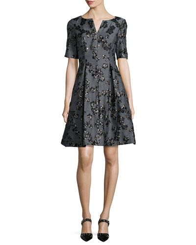 Floral Jacquard Half-Sleeve Dress, Black/Gray