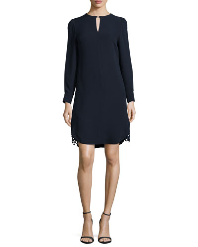Long-Sleeve Lace-Hem Silk Dress, Navy