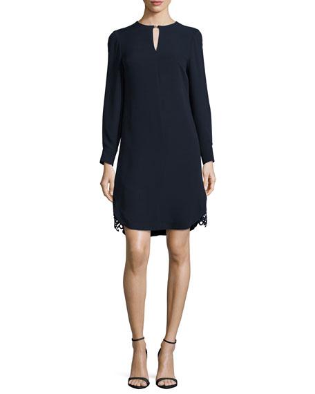 Lela Rose Long-Sleeve Lace-Hem Silk Dress, Navy
