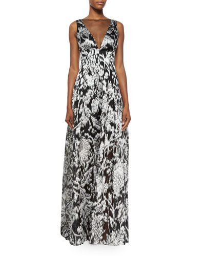 Ikat Fil Coupe V-Neck Gown, Silver