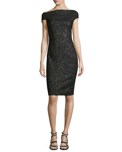Sparkle Off-the-Shoulder Sheath Dress, Black Metallic