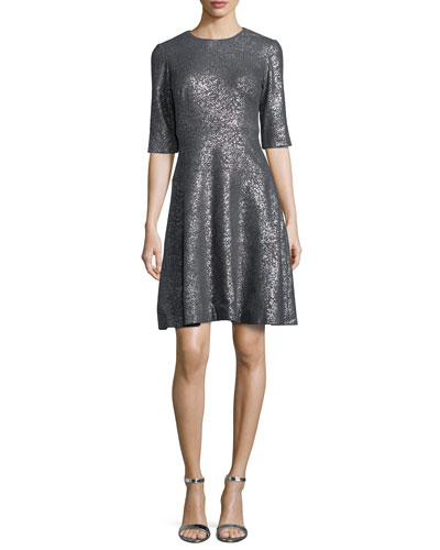 Tiered Metallic Elbow-Sleeve Dress, Gray