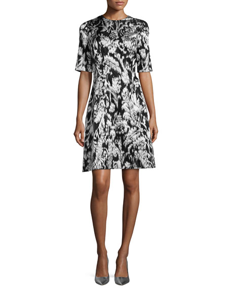 Lela Rose Ikat Fil Coupe Half-Sleeve Dress, Silver