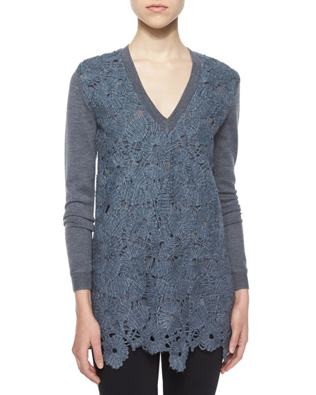 Lela Rose Guipure Lace Knit V-Neck Top, Gray