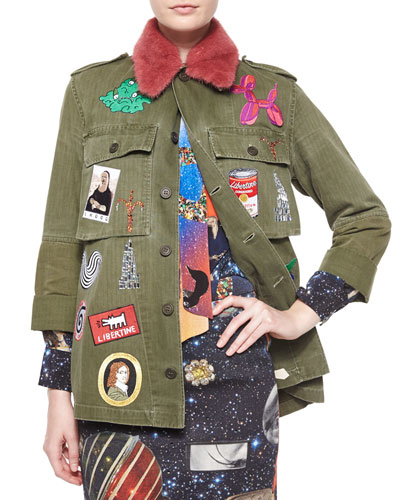Fur-Collar Embellished Army Coat, Green