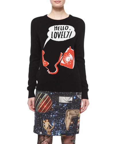 Hello Lovely Crewneck Cashmere Sweater, Black