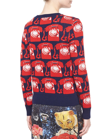 Phone Cashmere Crewneck Sweater, Navy/Red