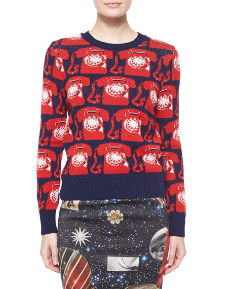 Libertine Phone Cashmere Crewneck Sweater, Navy/Red