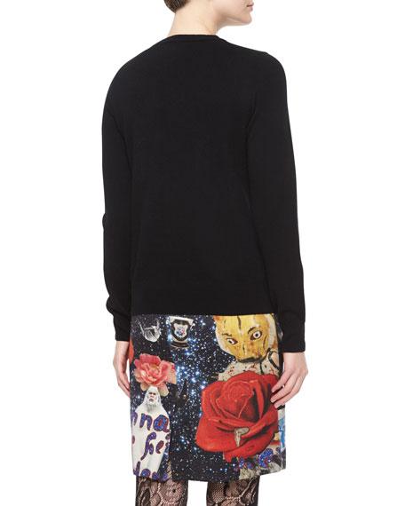 Hello Lovely Cashmere Embellished Sweater, Black