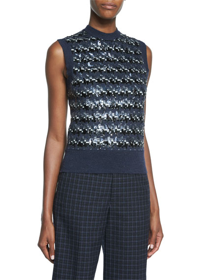 Marc Jacobs Houndstooth Sequined Knit Sweater